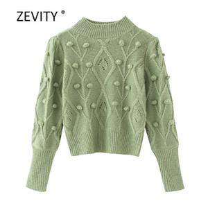 Zevity yeni bayan moda düz renk topu Aplikler örgü kazak bayanlar uzun gündelik kazak şık kazak S309 200.929 üstleri manşonlu