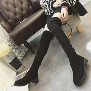 plus size new winter boots women bow-tied long stovepipe thick heels knight botas slim black over-the-knee stretch botines mujer