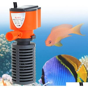 3 in 1 silent aquarium filter submersible oxygen internal pump sponge water with rain spray for fish tank air increase 3 5w f7D5R