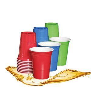 10pcs Set Party Cup Bar Restaurante Suministros Artículos para el hogar para suministros para el hogar 450 ml Taza de plástico desechable roja F WMTOCO