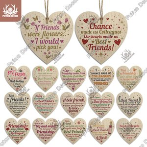 Putuo Decor Best Heart Shape Wooden Hanging Sign Lovely Friendship Plaque Crafts Ornament for Gift To Friend Keepsake Tag