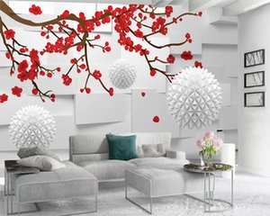 Custom Romantic Floral 3d Wallpaper White Floating Ball and Beautiful Red Plum 3d Wall Paper for Living Room Custom Photo