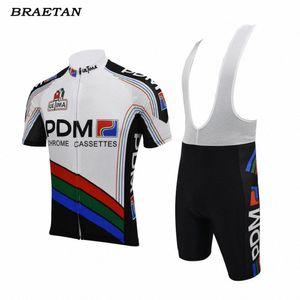 pdm cycling jersey set pro team cycling wear bib pants summer short sleeve clothing 3D gel pad mtb road clothes braetan HbKK#