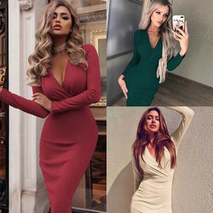 Günlük Kadınlar Güzel Katı Renk Elbise Moda İlkbahar Sonbahar BODYCON Elbise Yeni Geliş Bayanlar Uzun Kollu Kısa Kadın Elbise
