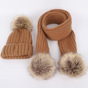 2pcs Children Knitted Beanie Hat Scarf Set Cute Infant Baby Fake Ball Pom Pom Cap Warm Winter Beanies for 3-8 Years Old
