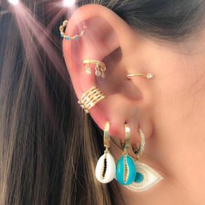 Multi color enamel shell shape dangle charm earring for women lady fashion festival earring jewelry