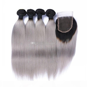 9A Malaysian 1B Gray Hair Weave 4 Bundles With Lace Closure Silver Grey Ombre Human Hair Extensions With Closure 1B Grey Silky Straight