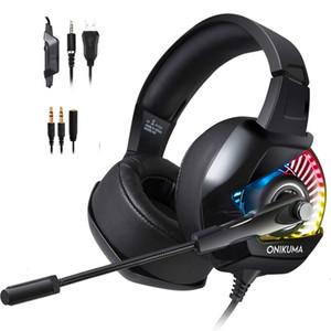 ONIKUMA K6 auricular para juegos PC Gamer Bajo estéreo con cable auriculares con micrófono para el ordenador portátil PS4 Nueva Xbox Uno de ordenador del juego de auriculares