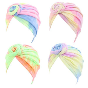 Women Bohemian Spiral Floral Knot Turban Hat Stretch Neon Colorful Tie-Dye Hair Loss Chemo Cap Muslim Bandana Headwrap