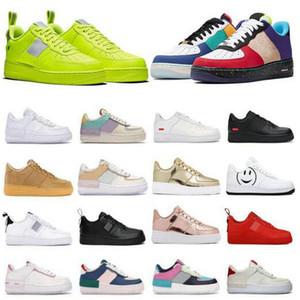 Envío gratis Hombres Zapatos froteos ocasionales 1 zapatillas de deporte de los hombres bajos obliga a un hombre entrenadores deportivos Skateboard One Sports White Sneakers BT11