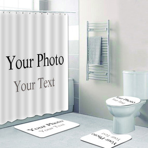 Customized Shower Curtain Personalized Shower Curtain + Bath Mat + Pedestal Rug + Lid Toilet Cover Waterproof Bathroom Decor