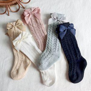 INS sweet baby socks bowknot girls socks princess kids knit knee high socks cotton kids sock long sock girls clothes B2245