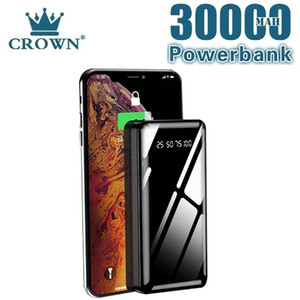 Power Bank 30000MAh Portable Charging Full Mirror Screen Digital Display External Battery Charger for Smart Phone Free Shipping