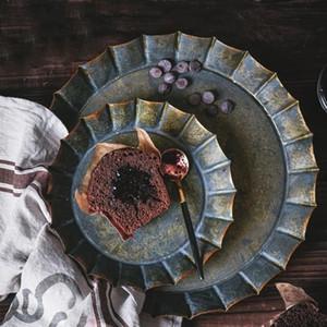 Lace Rodada Retro Placa do ferro Floral Rim Artesanais Vintage Antique metal Bandeja Ribboned Retro Placa para Home Decor Igreja casamento