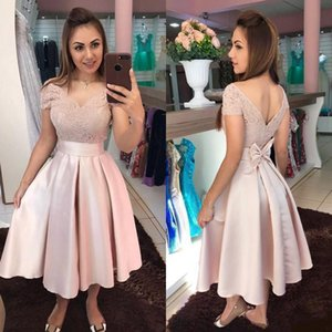 Gold Homecoming Dresses Tea Length Lace V Neck Back Short Sleeves Satin Custom Made Bow Formal Prom Party Ball Gown