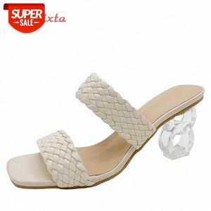 Aphixta 2021 Neue Sommer Frauen Maultieren Design Hausschuhe Sandale Folien Geflochtene Schnur 7cm Transparente FRETWORK Fersen Frauen Schuhe Weibliche # QY1L