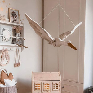 Algodón Wall línea colgante cisne relleno de la felpa de la muñeca del sitio del cuarto casera pendiente de habitación de los niños de decoración de interior fuera de la Florida