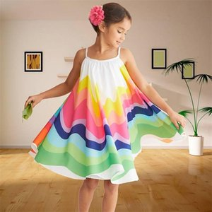Summer Party Girls Dress Sling Colorful Kids Dresses for Girls Wedding Evening Holiday Beach Rainbow Gown Toddler Girl Clothes