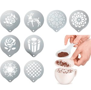 Coffee Cake Stainless Steel Stencil Decoration Cupcake Template Mold Lifelike Cappuccino Latte Stencil Coffee Mold Cooking Tools DBC BH4242