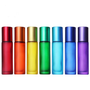 Bunte neue 200pcs / lot Thick Frosted 10ml 1/3 Unzen Roll On Glass Perfume Bottle Fragrances Ätherisches Öl-Flasche Roller Ball DHD2935