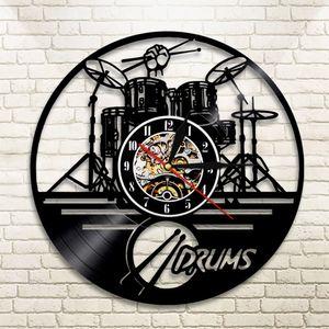 Guitar Drums Set Silhouette LED Backlight reloj Music Modern Vinyl Watch 3d Wall Clock horloge Band Member Fan Handmade Gift 201118