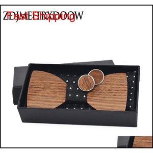 Cravatte per uomini legno bowtie jacquard tessuto cravatta hanky gemelli set per affari we qylbge bdefashion