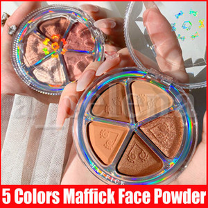 Maffick Face Eye Makeup Maquiagem Blush Shimmer and Matte Pressed Powder Blush Palette Nature Eyeshadow Bronzer Highlighters 5 Colors