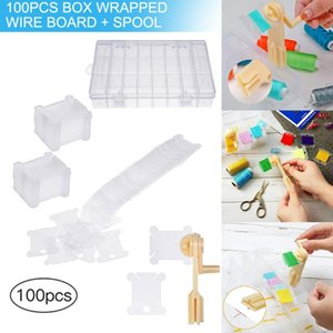 Spot 100pcs Plastic Floss Bobbins with Floss Winder and Embroidery Organizer Box for Cross Stitch Craft DIY Sewing Storage Ho