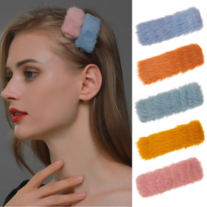 The new autumn and winter large square silk burr sweet plush clip clip hairpin bb subnet red bangs clip hairpin broken cute suitable sweater
