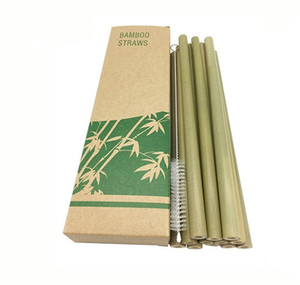 Green Bamboo Phyllostachys Heterocycla Straw Natural 20cm Hotel Drinks Straws With Brush Milk Tea Shop New Arrival 8 9nt F2