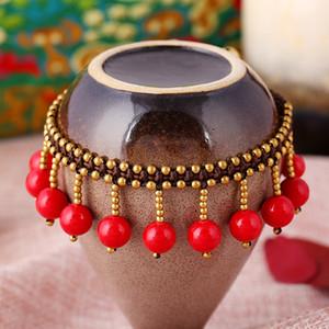 Kadınların modaya ayak bileği zincir, el pirinç çan ile kırmızı taş kafa zincirini, bohem tarzı, milliyeti, dokuma