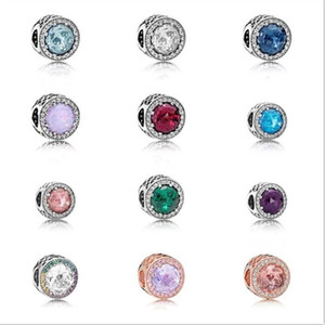 925 Sterling Silver luxury jewelry charm lady zircon crystal transparent European loose bead suitable for Pandora Bracelet DIY production
