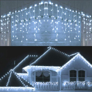 5m impermeable al aire libre luz de la Navidad caída 0.4-0.6m LED Cortina Icicle String Lights Garden Mall Aleros Luces Decorativas
