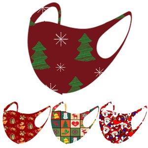 Рождественская маска для лица моды дизайнеры маски точечные внешнеторговые взрывы праздник лось снеговика печатает ледяной шелк FaceMask