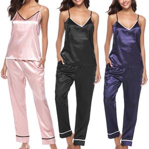 Mulher sexy pijamas seda pijamas sleepwear nightwear deep v sling conjunto casual solto conforto feminino roupas roupas