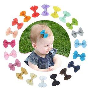 Baby Girl Hair Clips Handmade Нейлоновая ленты для волос Hairclip Cute Bowknot Barchety Candy Color Детские шпильки для волос Аксессуары для волос 20 цветов DW6189