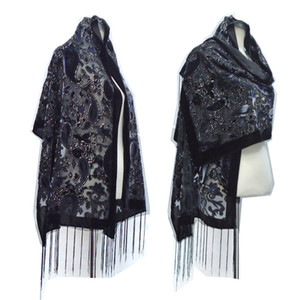 Brand New Winter Scarves Women 2020 Burnout Velvet Hijab Scarf Shawl Glitter Cashew Hair Accessory Ponchos Gift For Lovers