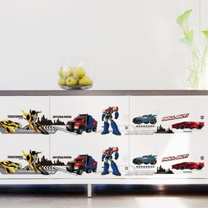 % Kids Height Chart Wall Sticker home Decor 3D Cartoon car Transformers Baseboard kids room bedroom Decals Art Sticker wallpaper