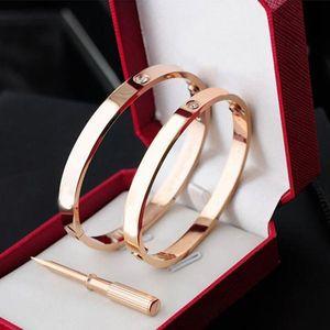 Classics Jewelry Joyeria Rosa Oro 316L Acero inoxidable 18K Brazalete de oro Chapado en oro Brazalete Brazalete Pulsera de Mujeres y Hombres Amora con cajas