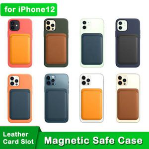 LEDER MAG MAGNETIC SAFE TELEFON FÜR IPhone 12 Kartensteckplatz Kreditkartenhalter Brieftasche Back Case für 12 Mini 12 Pro Pro Max Support Magsafe