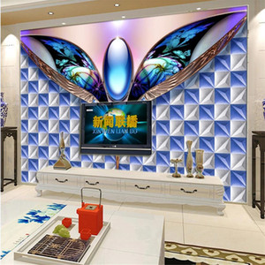 3D fashion soft pack mural living room TV background wall blue wallpapers 3d stereoscopic wallpaper