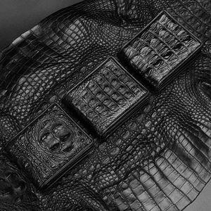 Siamese crocodile skull,back-bone,tail-bone skin genuine leather short Standard wallets,luxurys designers men's Alligator money pouch passpo