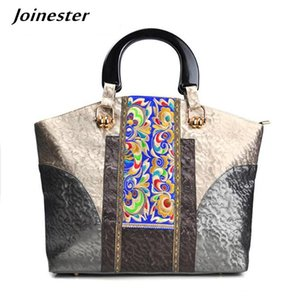 Women Retro Large Size Hand Bags Ethnic Embroidery Bag Floral PU Tote Ladies Vintage Handbags Canvas Handle Purse Commuting Bag