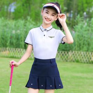 Girls T-Shirt Golf clothing Children's Tshirt Clothes Short Sleeve Outdoor Sports Tops Team Uniform Pleated Skirt Summer Set