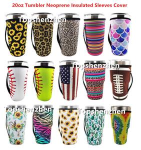 15 estilo reutilizable 20oz tapa de tambor de tapa bolsas con hielo taza de taza de taza de neopreno mangas aisladas tazas tazas de tazas de botella de agua con correa h
