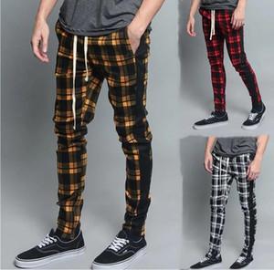 Herrenmode-beiläufige Hosen Street Wear Hosen Plaid dünne kühle Hosen japanische Street