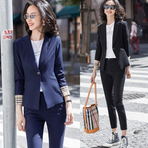 Fashion Ladies Navy Blue Blazer Women Business Suits with Pant and Jackets Sets Work Pantsuits Office Uniform Styles