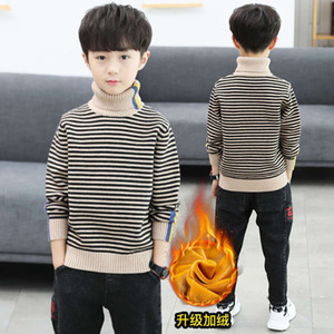thickened wear, boys' plush sweater, pullover, autumn winter wear 2020 new middle and small Children's Korean sle high