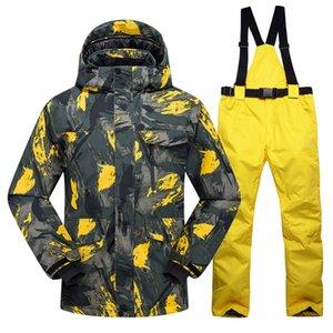 Nuovo caldo Ski Il vestito degli uomini New Winter esterna impermeabile antivento termico pantaloni maschio neve imposta Giacca Sci e snowboard Sci Uomo C1001