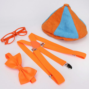2021 latestSet Up Hat Includes Glasses Bowtie Dress and Suspenders Costume Accessory Caps Halloween Cosplay Blippi Decoration New